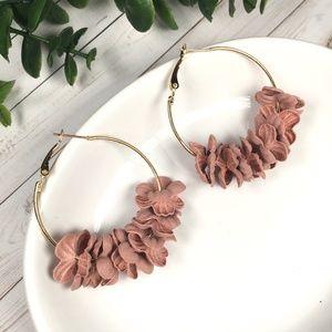 Dusty Pink Flower Petal Hoop Earrings